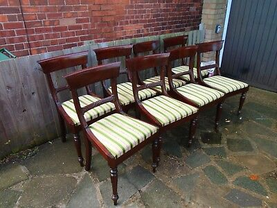 8 regency antique style bar back mahogany dining chairs.