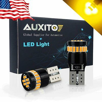 2x Canbus AMBER YELLOW LED W5W T10 194 2825 168 Wedge License Plate Light Bulb