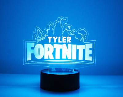 Fortnite Personalized LED Night Light Lamp - Engraved FREE with Remote Control