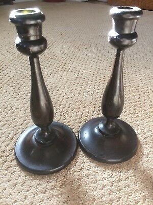pair of Vintage antique carved turned wood candlestick candle holders