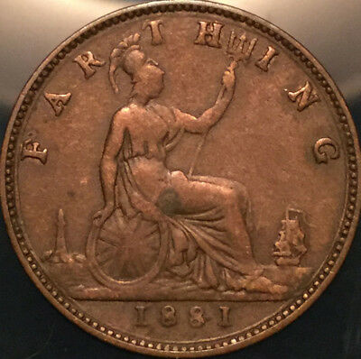 1881 Uk Gb Great Britain Victoria Farthing