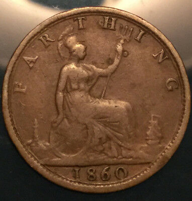 1860 Uk Gb Great Britain Victoria Farthing