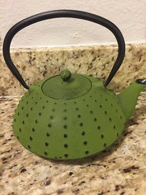 Japanese Cast Iron Green Teapot Tea Kettle Hobnail