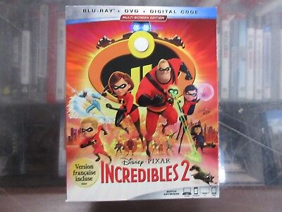 BRAND NEW The Incredibles 2 (Blu Ray + DVD + Digital)
