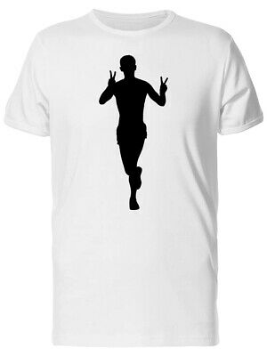 Black Silhouette Of  Running Boy Men's Tee -Image by Shutterstock