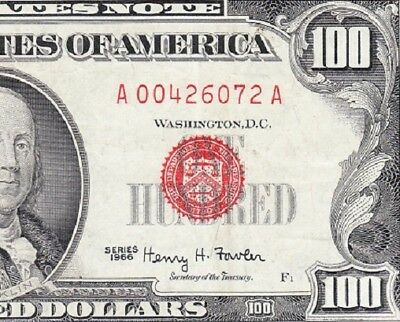 VERY NICE 1966 $100 Red Seal US Legal Tender Note! FREE SHIPPING! A00426072A