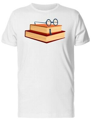 Books Stacked With Round Glasses Men's Tee -Image by Shutterstock
