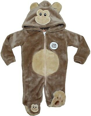 Fleece Body Suit Jumpsuits All In One Hood Ears Animal Themed Baby Playsuits