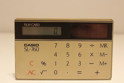 "Vintage Japan Pocket Digital Solar Calculator""Casio"" Film Card Sl-760/Sumi-Alpha"