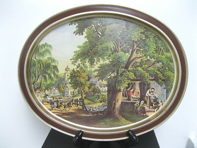 Vintage Sunshine Biscuits Currier and Ives Lithograph Guildcraft USA Tin Tray