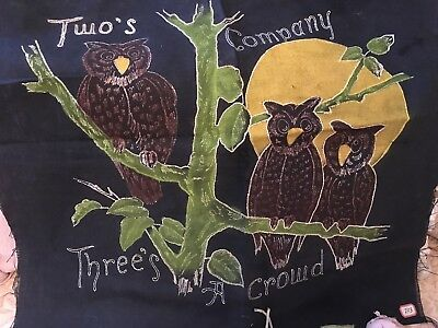 Antique Primitive Needlework Pillow Cover Black 3 Owls Unused 1880s #N