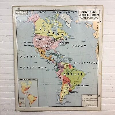 Industrial Vintage Hatier Hanging School Wall French America Map Vidal Lablache
