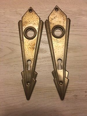 "2 Vintage Art Deco Brass Door Escutcheons/Back plates 7.25"" with Keyhole"