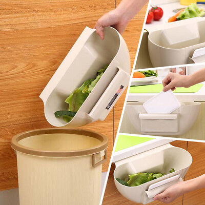 Kitchen Cabinet Door Hanging Waste Bin Slide Desktop Storage Trash Basket Garbag