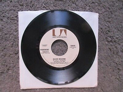 "HAWKWIND ""SILVER MACHINE""(LIVE) b/w ""SEVEN BY SEVEN"" 1972 EX-  UA 50949 STOCK US"
