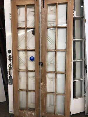 """Old Then French Doors 10 Light 76"""" X 18 Ea 36 Total Open"""