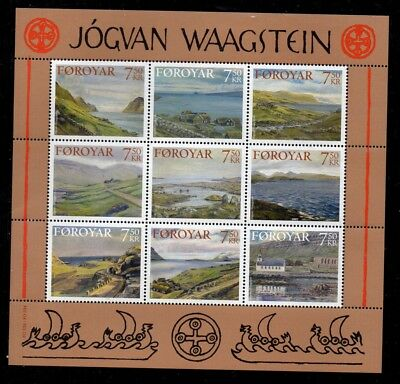 Faroe Islands Sc 462 2005 Waagstein Paintings stamp sheet mint NH Free Shipping
