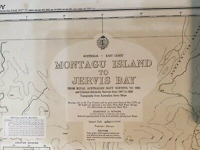 Genuine 60s Vintage Nautical Chart Montagu Island to Jervis Bay Australia