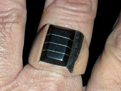 Vintage Large Black Onyx Mexican Quality Men Ring 21.20 Grams