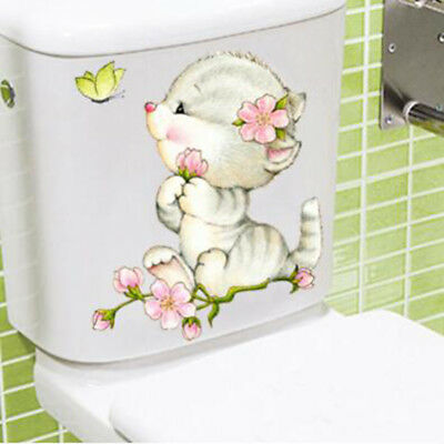 Self Adhesive Kitten Pattern Toilet Seat Stickers Bathroom Wall Home Ornament