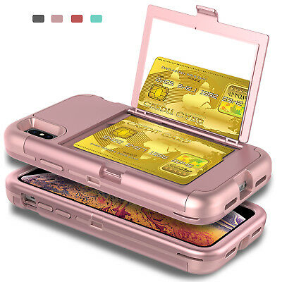 For iPhone XS Max XR Shockproof Case Cover With Mirror Card Wallet Slot Holder