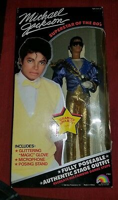 Vintage 80's Michael Jackson Doll in Blue Grammy Outfit SEALED in original box.
