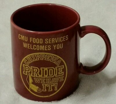 1987-88 CMU Central Michigan University Chippewas Food Service Mug Football