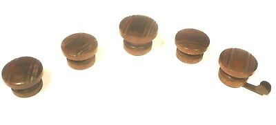 vIntage SILVERTONE 1968-A CONSOLE RADIO part:  SET OF 5 WOOD KNOBS - 1 w/ handle
