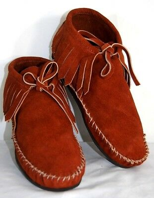 Suede Soft Moccasins men low boot fringe Western Indian Pawnee Style lace NWT