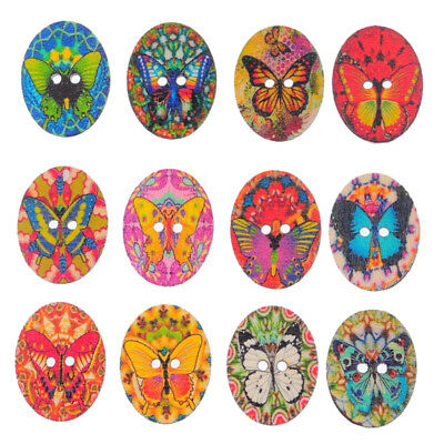 10X(50PCs Mixed Color 2 Hole Wooden Buttons Floral Butterfly Hole Fit Sewi E1X4)