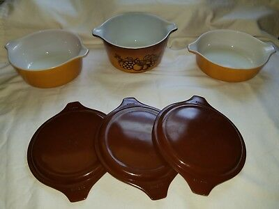 Vintage Pyrex Old Orchard Nesting Casserole Dish 6 Piece With Lids 471 472 473