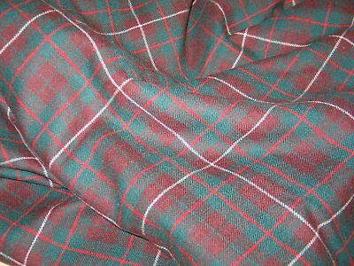 "Vintage Wool Fabric Red Green and White-Plaid-NOS UNUSED~54""x68"""