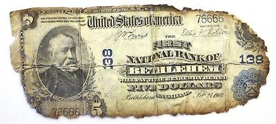 1902 $5 Bethlehem PA National Banknote: Fancy Serial # 76666: Fire Recovery