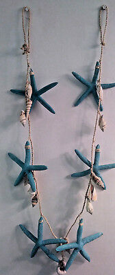 Brighten the Season (Teal/Blue) Starfish & Shell Twisted rope Garland 59""