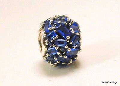 New/tags Authentic Pandora Silver Charm Chiselled Elegance Blue #797746Nsbl