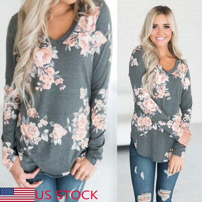 US Sexy Womens Fashion Blouse Floral V-Neck Top Shirt Long Sleeve Ladies Clothes