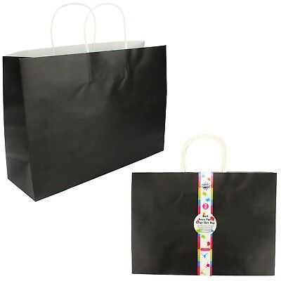 Black Birthday Party Paper Favour Gift Craft Bags With Handles (Pk Of 3)
