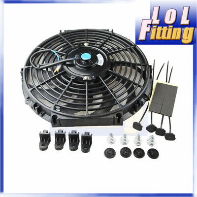 "AU STOCK 12"" Inch 12V Reversible Electric Cooling Fan Curved S Blade Radiator"