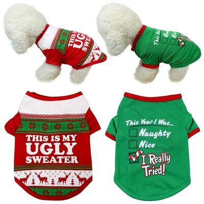 Christmas Pet Dog Hoodie Sweater Shirt Clothes Puppy Cotton Pullover Apparel Top