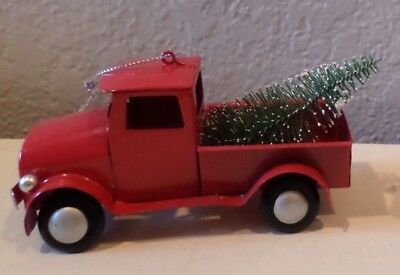 Vintage Red Metal Truck Christmas Tree In Back Snow Frosted Ornament Home Decor