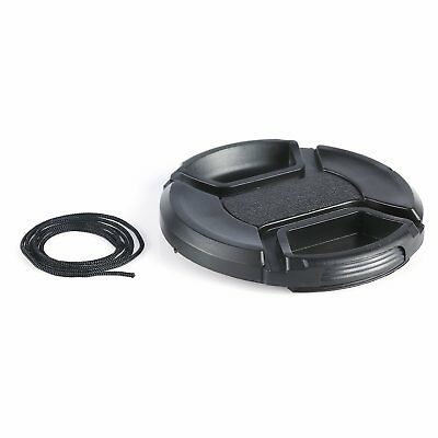 62MM Snap-on Center-Pinch Lens Cap Cover for All DSLR Camera Lens with String