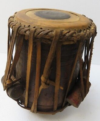 ANTIQUE TABLA SINGLE HEADED DHOLAK CLASSICAL FOLK MUSIC INSTRUMENT INDIA c1900