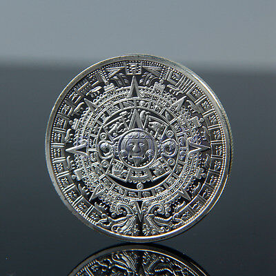 Sliver Plated Aztec Mayan Calendar Commemorative Coin Collectible Collection EW