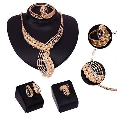 Fashion Women Gold Plated Rhinestone Bridal Jewelry Sets Necklace Earring Set BE