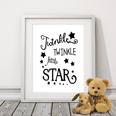 Twinkle Little Star  Nursery rhyme wall Print wording Picture Quote black