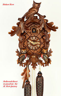 Hubert Herr, Black Forest new 8 day cuckoo clock,  3 lovely hand carved owls.