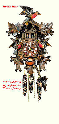 Hubert Herr,  new Black Forest  musical cuckoo clock with 3 hand carved birds.