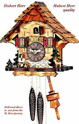 Hubert Herr,   lovely new 1 Day cuckoo clock with seated moving  beer drinker.
