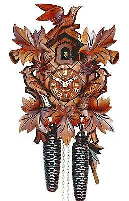 Hubert Herr,   Black Forest 8 day cuckoo clock,  3 hand carved birds & 7 leaves,