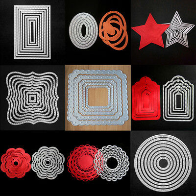 Metal Dies Set Scrapbooking Xmas Cardmaking Decor Cutting Stitched Frames Party